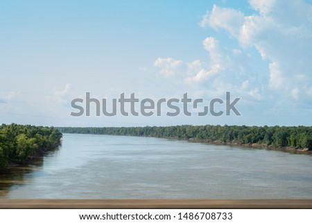 The Atchafalaya Basin Bridge, Interstate 10, crossing over a body of water called the Whiskey Bay Pilot Channel, located in West Baton Rouge Parish, South Louisiana. #1486708733