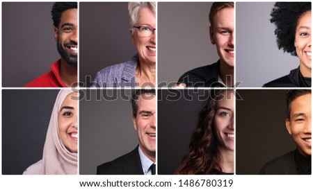 Beautiful commercial people in front of a grey background #1486780319