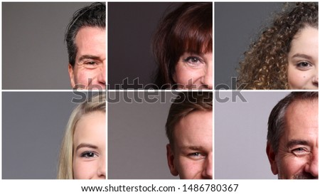 Beautiful commercial people in front of a grey background #1486780367