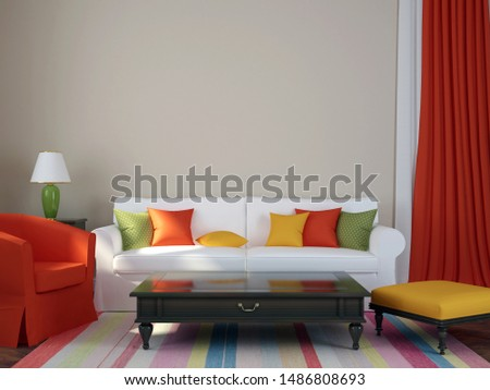 Colorful composition made in a trendy eclectic style, consisting of a sofa, armchair, pouf, coffee table and curtains. 3D illustration #1486808693