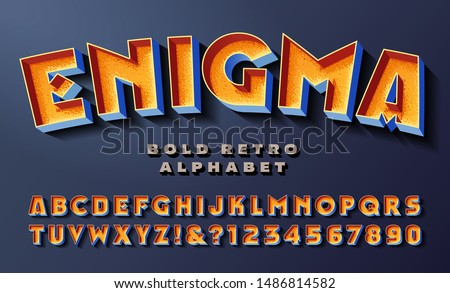 Enigma font; bold colorful retro alphabet with vintage 3d lighting effects Royalty-Free Stock Photo #1486814582