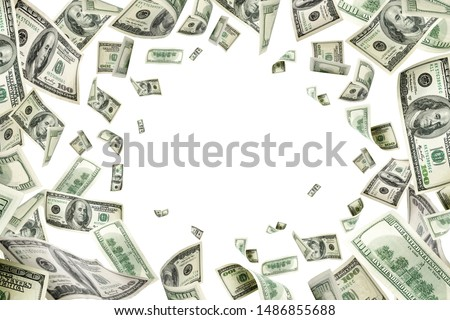Dollar sign. American money. Cash background, us bill. Money fal Royalty-Free Stock Photo #1486855688
