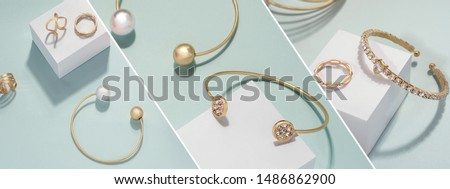 Slanted jewelry photography collage on bright green background  #1486862900