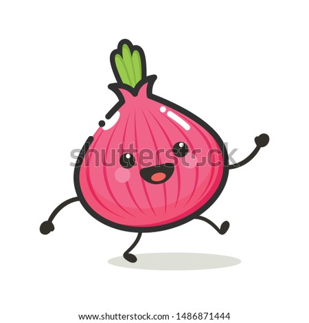 Onion Character Mascot .Fruit & Vegetables Cute Simple icon logo Design Vector Royalty-Free Stock Photo #1486871444