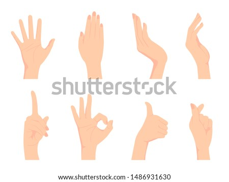 Female hand gesture (hand sign) vector illustration set / ok sign, thumb up , finger heart etc. #1486931630