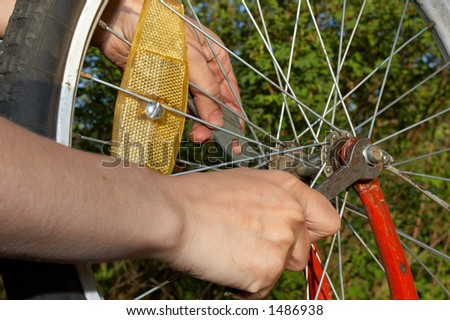 repair of bicycle wheel closeup #1486938