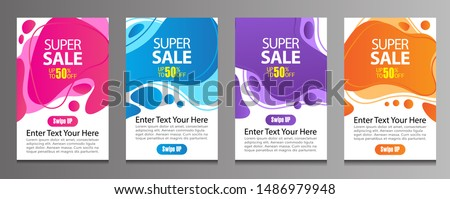 Vector Modern Fluid For Big Sale Banners Design. Discount Banner Promotion Template. Special offer and sale banner discount up to 50% template design with editable text. #1486979948