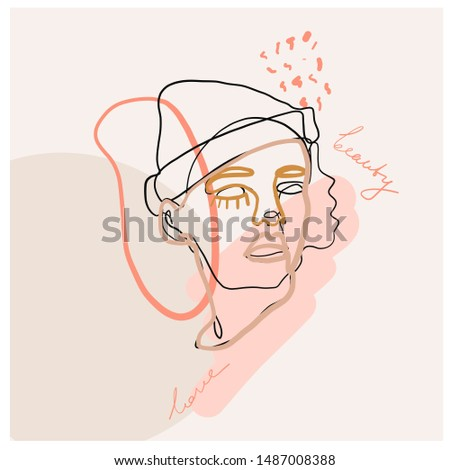 One continuous woman portrait with freehand abstract color elements. Contemporary modern composition.  #1487008388