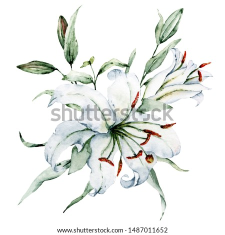 Watercolor flowers white lilies. Floral bouquet, clip art. Arrangement with lily perfectly for printing design on invitations, cards, wall art and other. Isolated on white. Hand painted.