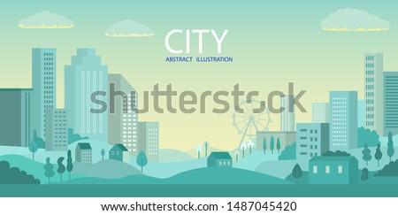 City skyline Vector illustration. Urban landscape. Daytime cityscape #1487045420
