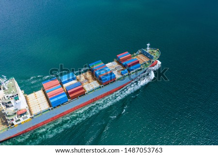 transportation business cargo containers logistics shipping service import and export international by the sea  aerial view from drones camera #1487053763