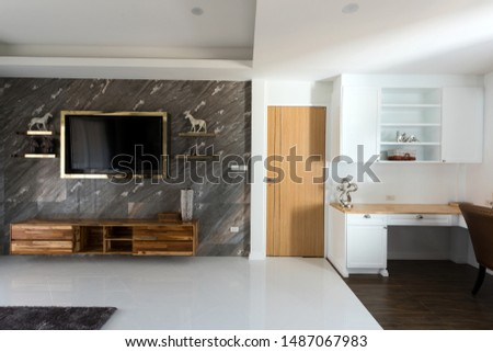 idea bedroom with relax place in one room, modern room with decorate #1487067983
