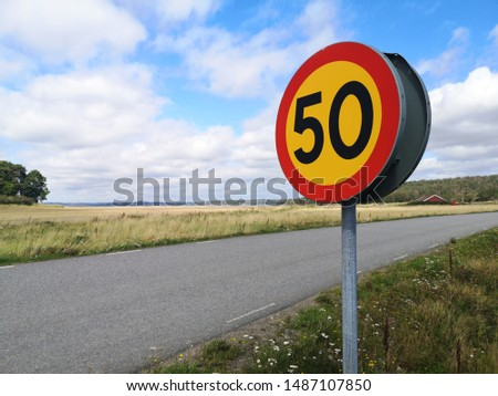 Swedish 50 road sign next to a small road with meadow flowers on the sides.