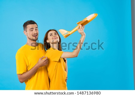 Woman yellow t-shirt concept travel flight leisure leisure lifestyle #1487136980