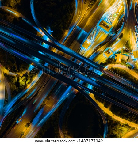 Toll expressway and motorway payment point, Road traffic an important infrastructure in Bangkok Thailand. Aerial top view multilevel junction of road and roundabout #1487177942