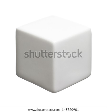 Single white cube isolated on white background with copy space.