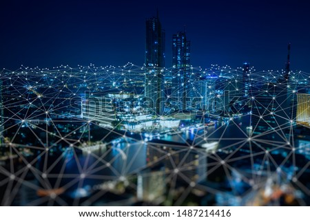 Wireless network and Connection technology concept with Abstract Bangkok city background  #1487214416