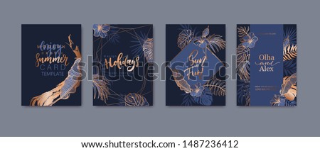 Set of elegant brochure, card, background, cover. Blue and golden marble texture. Geometric frame. Palm, exotic leaves. Save the date, invitation, birthday card design. #1487236412