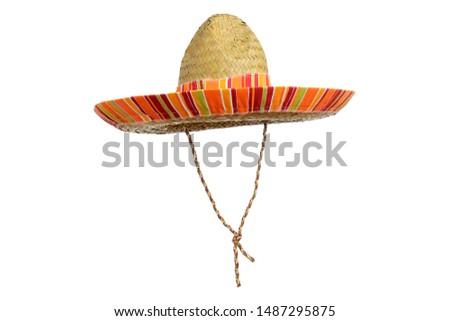 Serape straw sombrero isolated on a white background. #1487295875
