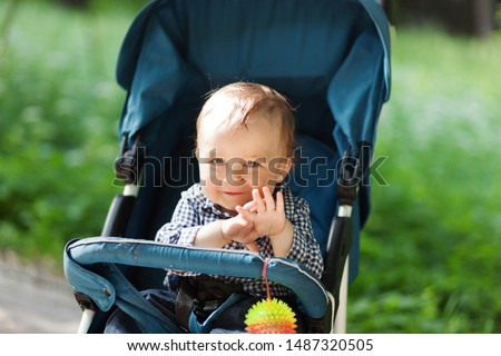 Baby in stroller on a walk in summer park. Adorable little boy in checkered  shirt sitting in blue pushchair.Child in buggy Royalty-Free Stock Photo #1487320505