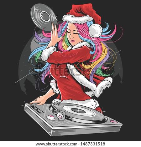 Girl Santa Claus Christmas DJ Party artwork vector