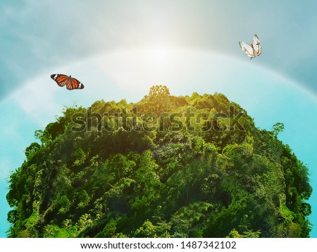 Ozone protect World green plants ,Environment and ecology concept. Royalty-Free Stock Photo #1487342102