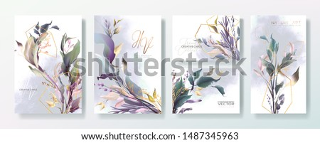 Wedding invitation frame set, flowers, leaves, mess and watercolor minimal vector. Sketched wreath, floral, herbs garland. Card with gold, gems, spots. Handdrawn Vector Watercolour style #1487345963