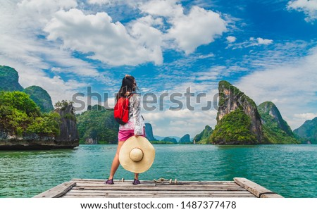 Traveler young woman look amazed nature scenic landscape island Phang Nga bay, Attraction adventure landmark Tourist travel Phuket Thailand summer holiday vacation, Tourism beautiful destinations Asia #1487377478