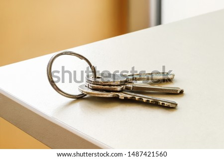Set of three house keys on the ring on table in a room. Bunch of apartment keys. To forget keys at home consept. Close-up. #1487421560