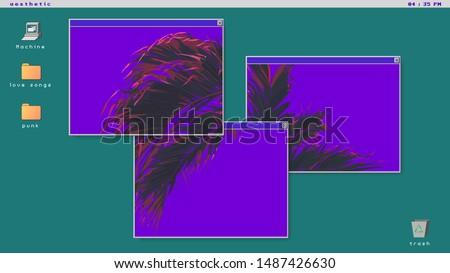 Tropical palm tree on ultraviolet flat background, futuristic minimal vaporwave vintage - retro vibe / nostalgic OS windows and icon style background