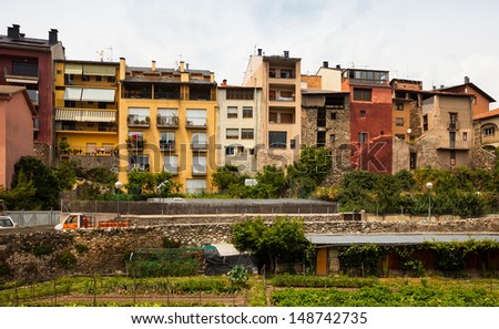 picturesque houses of  Catalan town in Pyrenees. La Seu d'Urgell, Catalonia #148742735