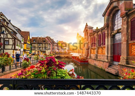 Colmar, Alsace, France. Petite Venice, water canal and traditional half timbered houses. Colmar is a charming town in Alsace, France. Beautiful view of colorful romantic city Colmar, France, Alsace. #1487443370