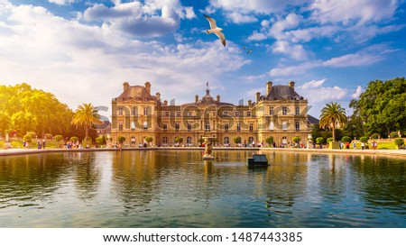 The Luxembourg Palace in The Jardin du Luxembourg or Luxembourg Gardens in Paris, France. Luxembourg Palace was originally built (1615-1645) to be the royal residence of the regent Marie de Medici. #1487443385