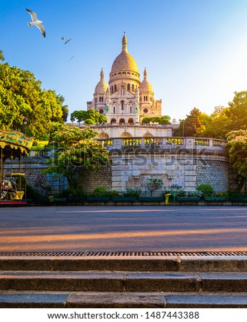 Basilica Sacre Coeur in Montmartre in Paris, France. The Basilica of the Sacred Heart (Sacre Coeur Basilica). Montmartre, Paris, France. Paris. Basilica Sacre-Coeur. On the hill Montmartre. Paris. #1487443388