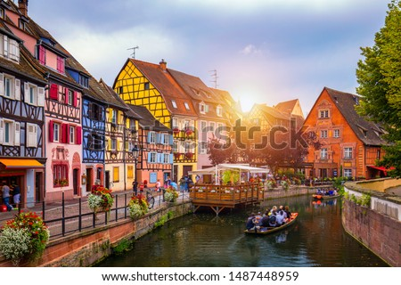 Colmar, Alsace, France. Petite Venice, water canal and traditional half timbered houses. Colmar is a charming town in Alsace, France. Beautiful view of colorful romantic city Colmar, France, Alsace. #1487448959