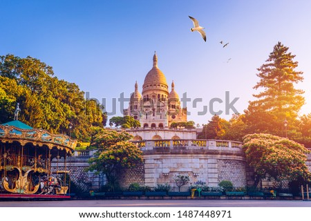 Basilica Sacre Coeur in Montmartre in Paris, France. The Basilica of the Sacred Heart (Sacre Coeur Basilica). Montmartre, Paris, France. Paris. Basilica Sacre-Coeur. On the hill Montmartre. Paris. #1487448971
