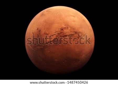 Planet Mars, in red rusty color, on a dark background.  Elements of this image were furnished by NASA for any purpose