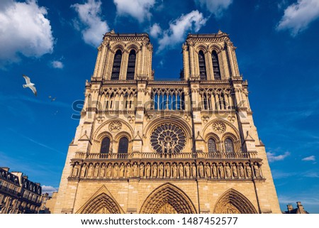 Notre Dame de Paris cathedral with seagulls flying over it, France. Notre Dame de Paris Cathedral, most beautiful Cathedral in Paris. Cathedral Notre Dame de Paris, destroyed in a fire in 2019. #1487452577