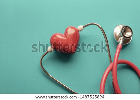 Red heart with stethoscope, heart health,  health insurance concept, World heart day, world health day, cardiovascular, hypertension concept #1487525894