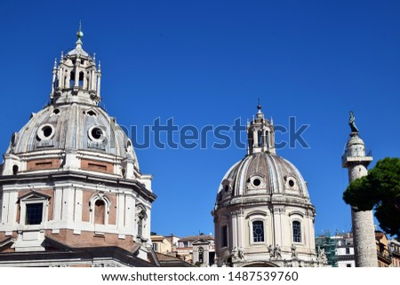 View on Basilica Ulpia, Trajan's Column and Santa Maria di Loreto. Ancient Roman architecture, Italy #1487539760