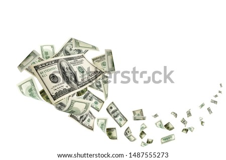 Hundred dollar bill. Falling money isolated background. American Royalty-Free Stock Photo #1487555273