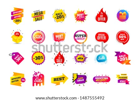 Sale banner badge. Special offer discount tags. Coupon shape templates design. Cyber monday sale discounts. Black friday shopping icons. Best ultimate offer badge. Super discount icons. Vector banners #1487555492