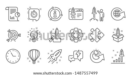 Startup line icons. Launch Project, Business report and Target. Strategy linear icon set. Quality line set. Vector #1487557499