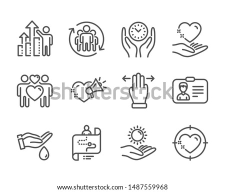 Set of People icons, such as Multitasking gesture, Heart target, Identification card, Sun protection, Love couple, Wash hands, Safe time, Journey path, Teamwork, Hold heart, Love message. Vector #1487559968