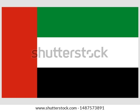 National flag of Islamic United Arab Emirates, UAE, Dubai, Abu Dhabi original color and proportion. Simply vector illustration eps10, from world countries flag set. #1487573891