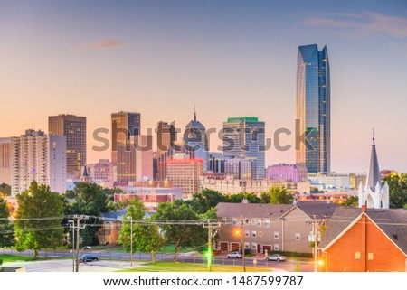 Oklahoma City, Oklahoma, USA downtown skyline at twilight.