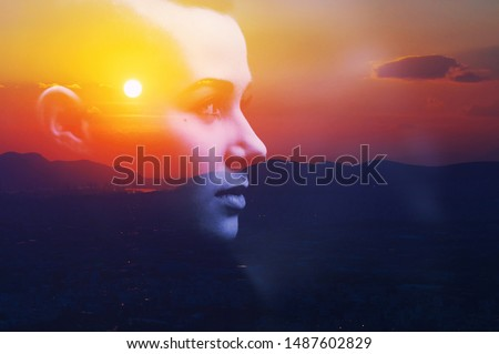 Double multiply exposure abstract dark portrait of a dreamy cute young woman face head sun silhouette in sky, sunrise nature. Psychology power of mind, human spirit, mental health, life zen concept #1487602829
