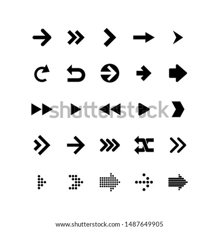 Arrows collection. Arrows big black set icons. Black arrow direction signs forward and down for navigation or web download button isolated vector narrow, right and recycle arrowhead symbols set #1487649905