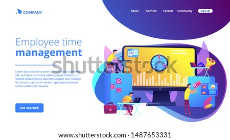 Work performance on schedule. Staff discipline. Time and attendance tracking system, office time tracking, employee time management concept. Website homepage landing web page template. #1487653331