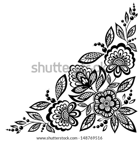 corner ornamental lace flowers are decorated in black and white. Many similarities to the author's profile